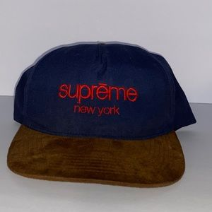 Supreme SnapBack navy blue/brown suede